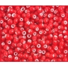 Glass Bead White Hearts 6/0 Red